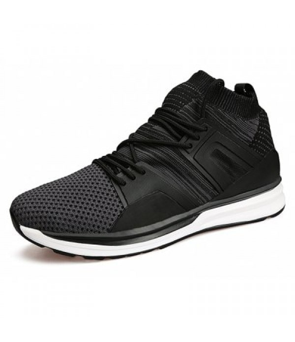 Male Breathable Lace Up Walking Sports Athletic Shoes