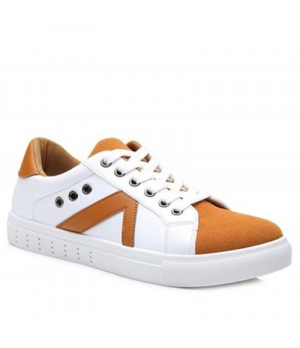 Eyelets Color Block Lace-Up Casual Shoes...