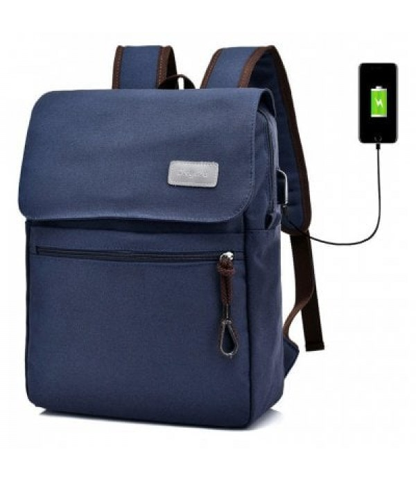 Canvas Double Pocket Zippers Backpack