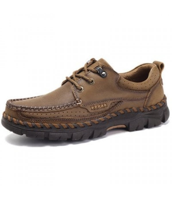 Men Fashion Outdoor Anti-slip Handcrafted Leather Casual Shoes